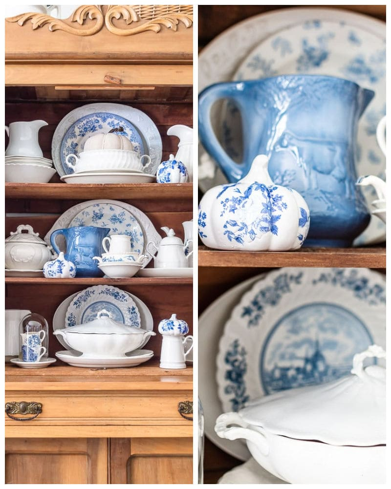 pine hutch shelves styled with blue and white vintage dishes and blue and white glassy pumpkins