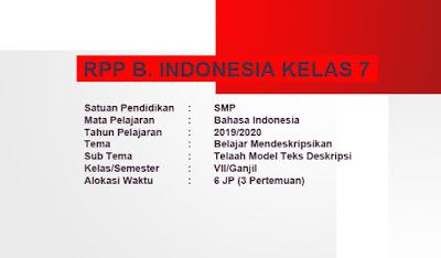 RPP Belajar Mendeskripsikan B. Indonesia Kurtilas Revisi 2018