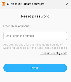 Reset password akun Mi