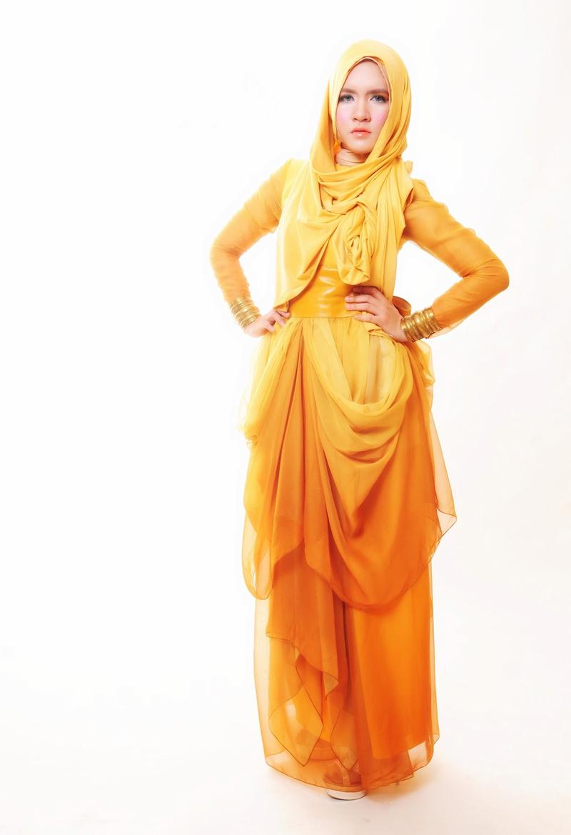 dika restiyani twitter model hijab cantik dan amni spakai baju kuning