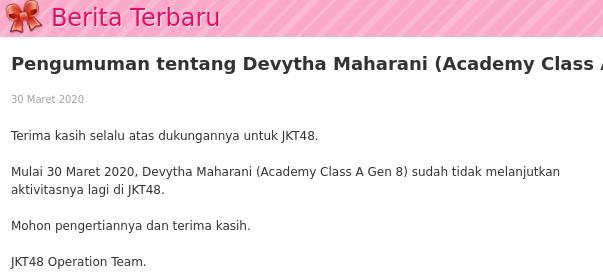 Skandal Devytha Maharani jkt48 grad keluar mengundurkan diri