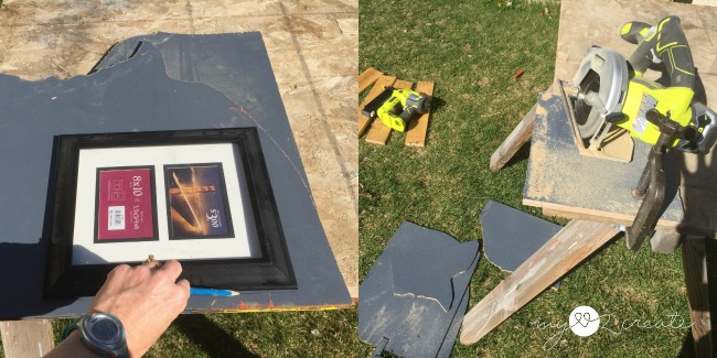 making scrap wood 8x10 frame sized pieces for photos to display on