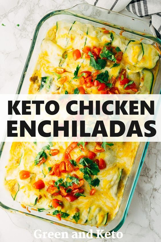 KETO GREEN CHILE CHICKEN ENCHILADAS