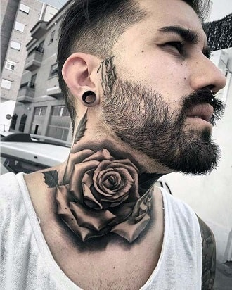 rose neck tattoos for guys