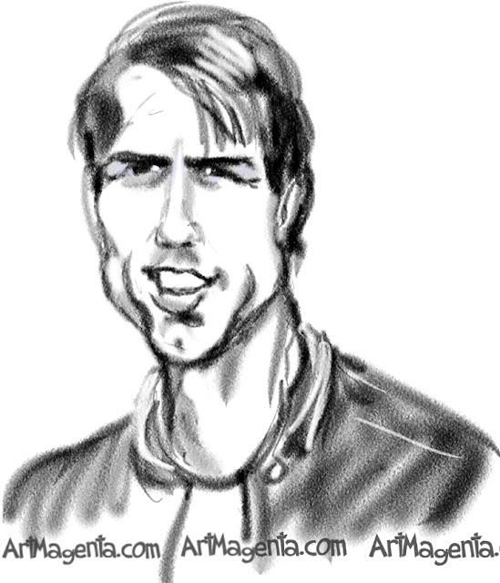 Tom Cruise caricature cartoon. Portrait drawing by caricaturist Artmagenta