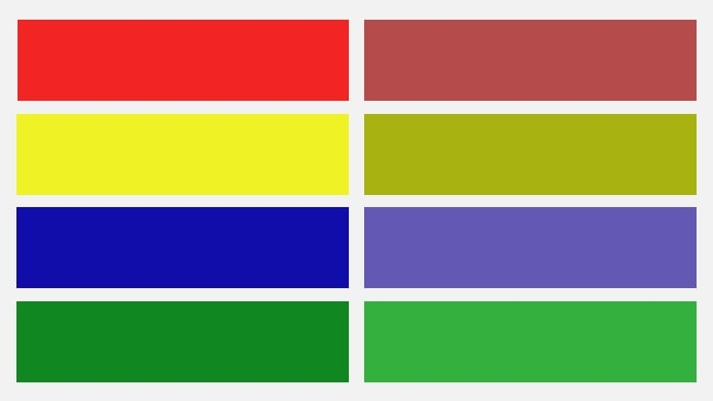 Two columns with 4 colours in each. On the left, bright red, yellow, blue, and green, and on the right column, light red, yellow, blue, and green colours are there.