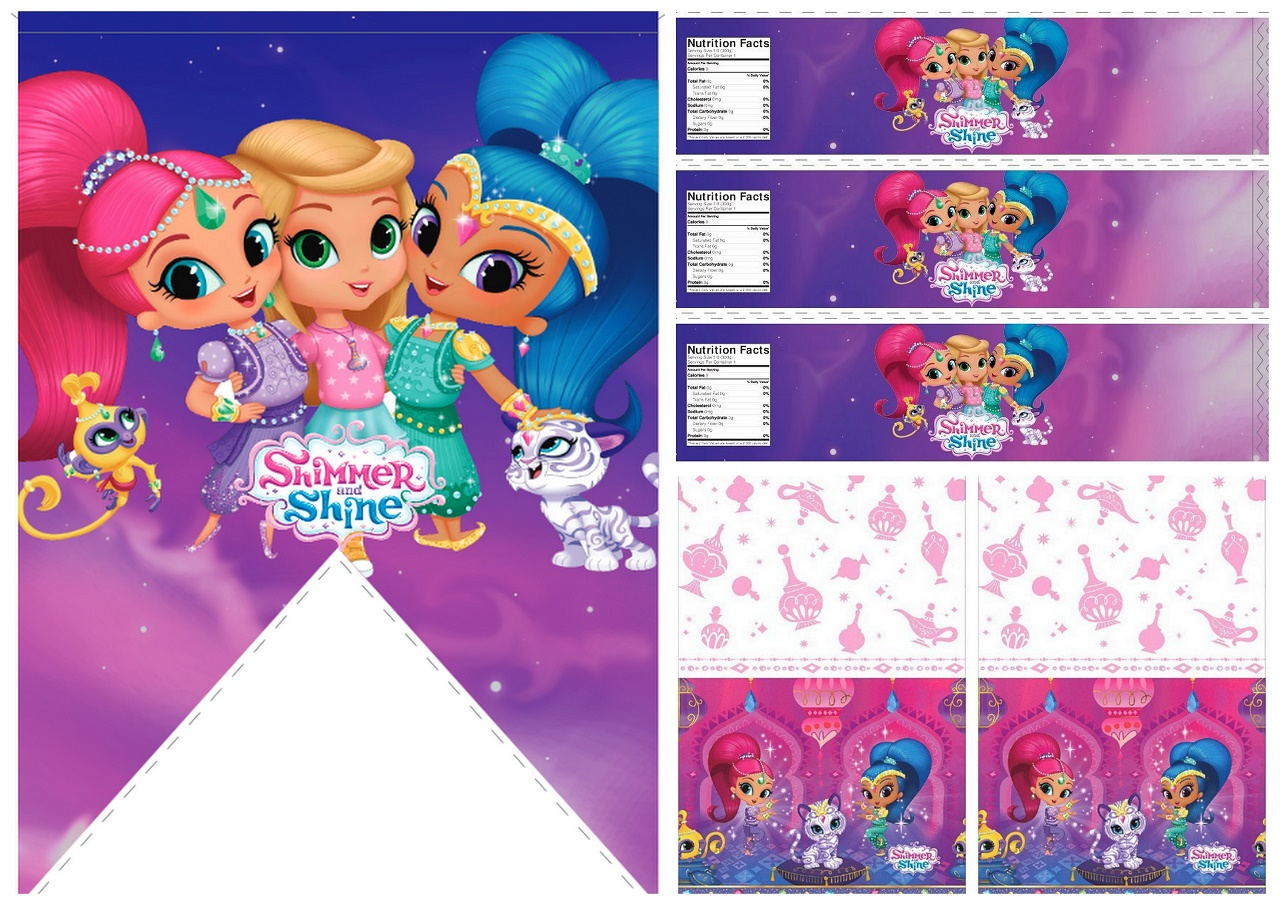 Shimmer And Shine Party Free Printable Banners Labels And Cards