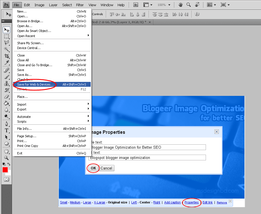 Save for web photoshop option