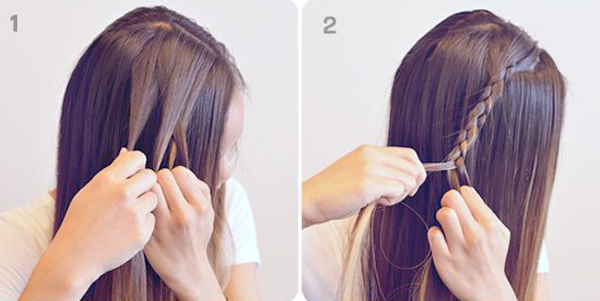 Make a side partition of your hair to make under braid