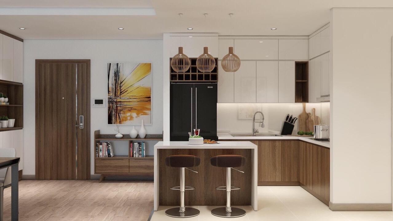 Mẫu thiết kế phòng bếp chung cư anland lake view nam cường