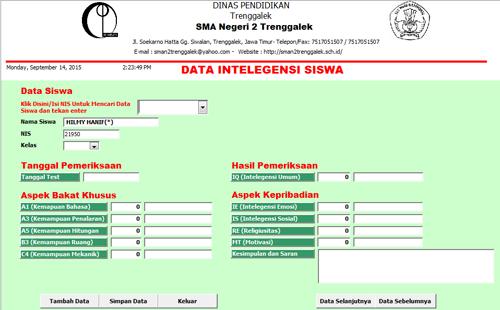 Tampilan data Intelegensi Siswa