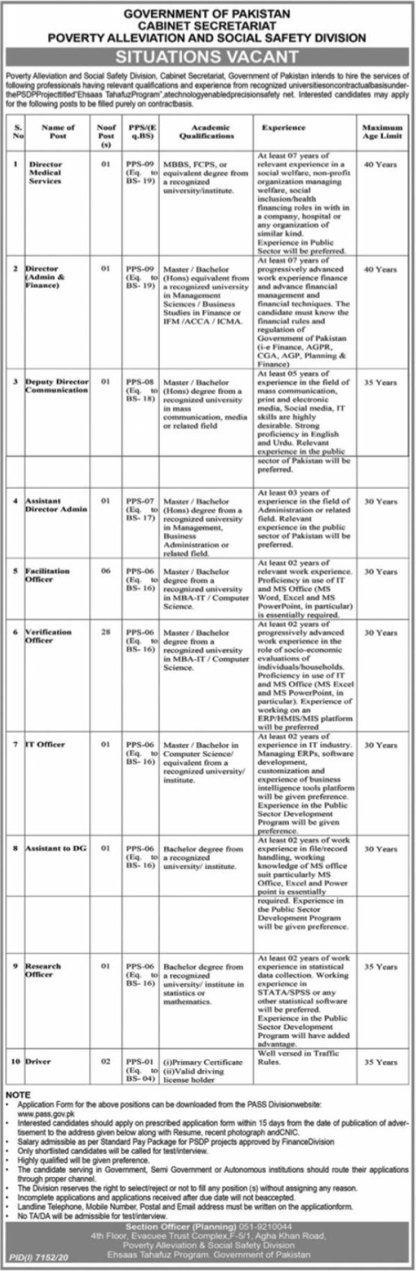 Cabinet Secretariat, Poverty Alleviation & Social Safety Division Jobs 2021