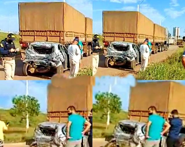 Carro de motorista de aplicativo é destruído por caminhão e carreta