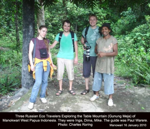 Russian tourists in manokwari with local guide Paul Warere