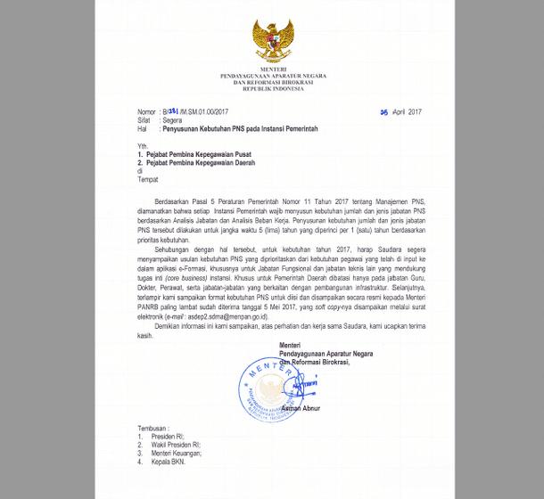 Surat Menteri PANRB Tentang Penyusunan Kebutuhan PNS Pada Instansi Pemerintah 25 April 2017