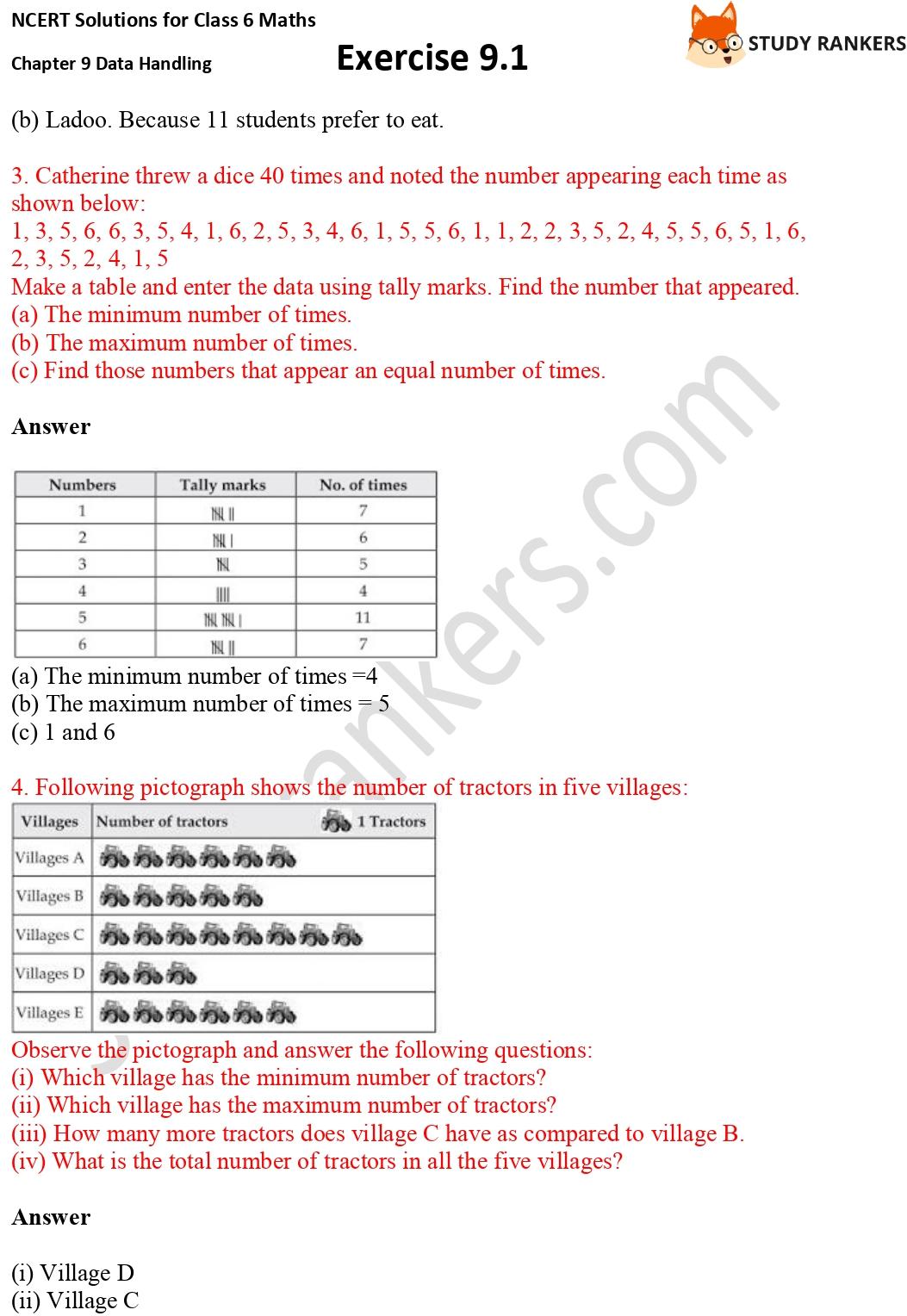 NCERT Solutions for Class 6 Maths Chapter 9 Data Handling Exercise 9.1 Part 2