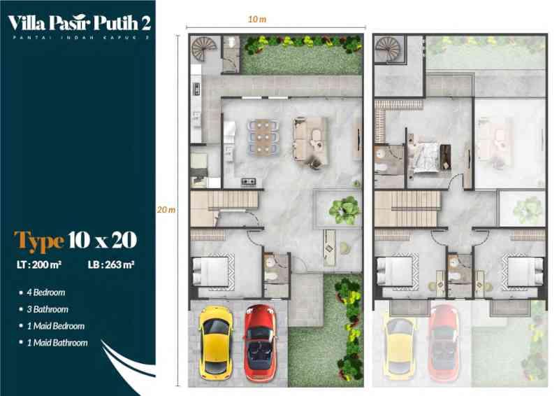 Denah Rumah Villa Pasir Putih 2 Tipe Cendana