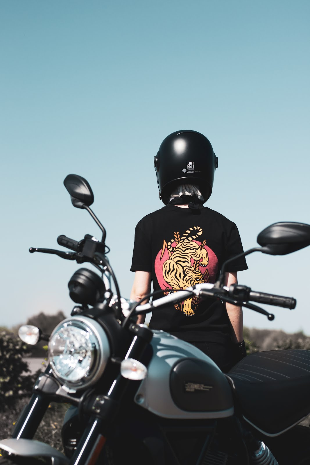 P&co, pandco, provision & co, one for the road collection, long sleeve, t-shirt, crew socks, scrambler ducati, motorcycle women, street style, outfit