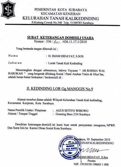 Contoh Surat Domisili Ormas
