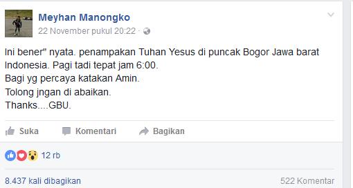 Penampakan Tuhan Yesus tadi pagi dibogor Hebohkan orang, Cek fotonya