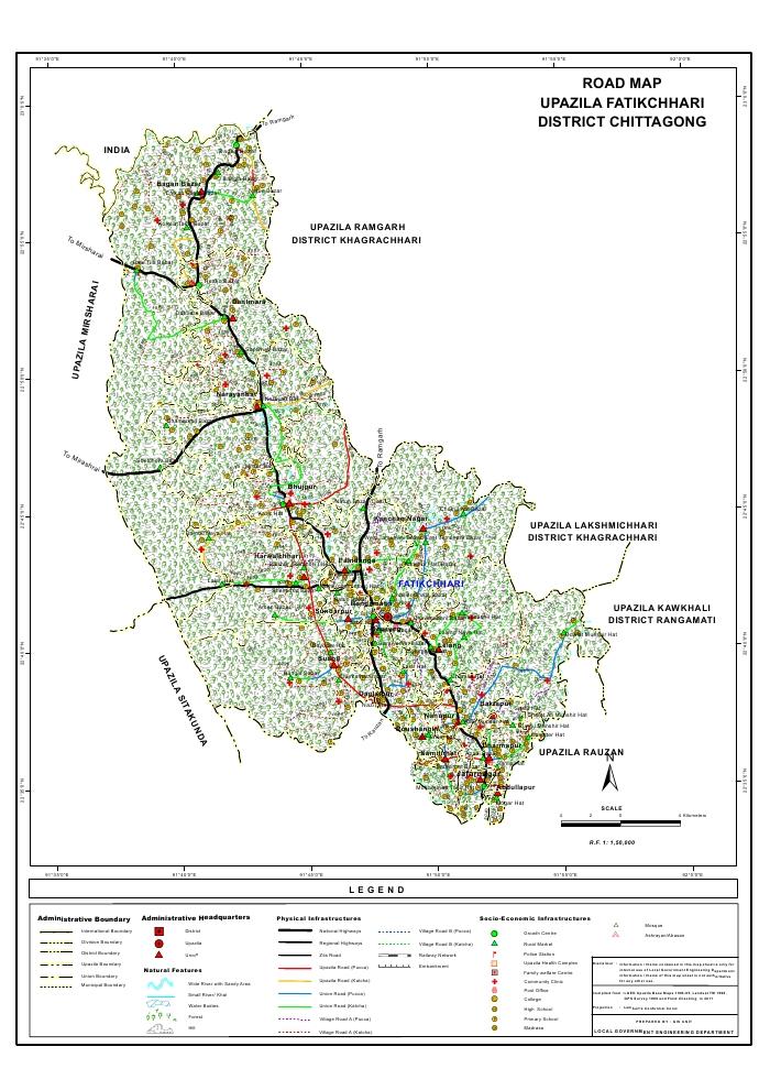 Fatikchari Upazila Road Map Chittagong District Bangladesh