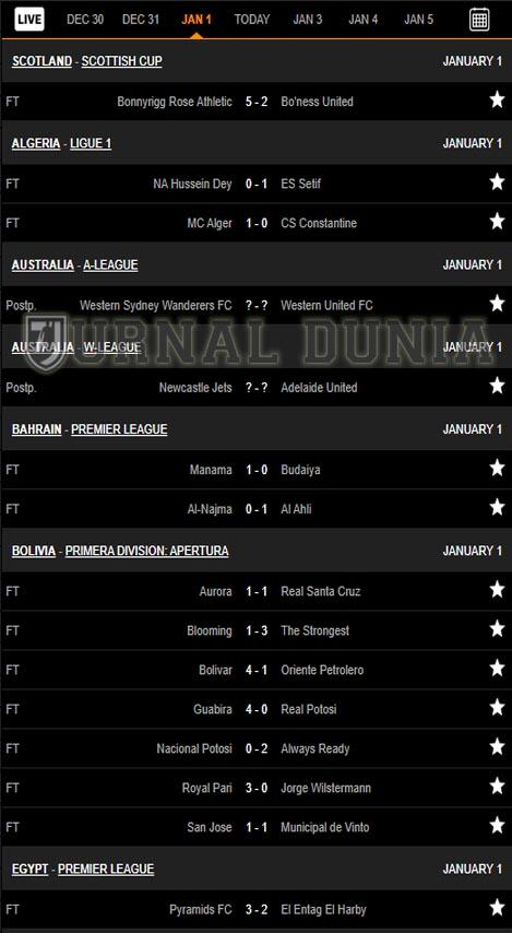 Hasil Pertandingan Sepakbola Tadi Malam, Jumat Tgl 01 - 02 Januari  2021
