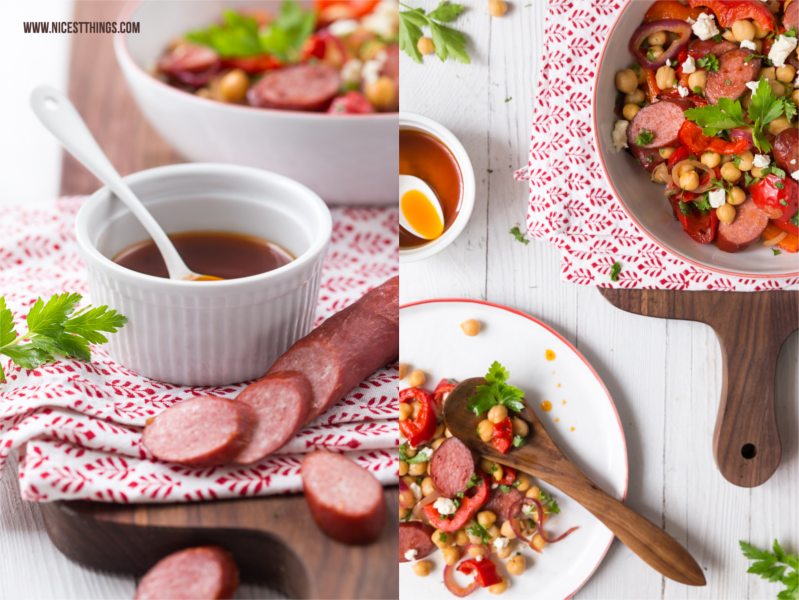 Kabanossi Salat mit Kichererbesen, Röstpaprika, Feta, roten Zwiebeln