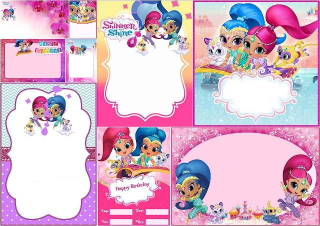 Shimmer and Shine Party Free Printable Invitations.