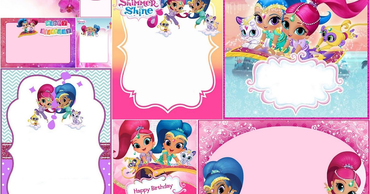NSTANT DL NON Personalized Printable Shimmer and shine Printable masks party photo booth
