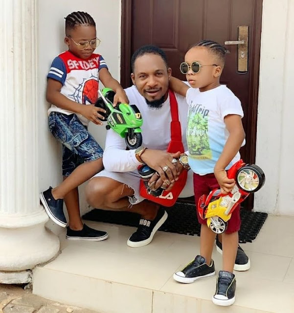 Nollywood Actor, Junior Pope blamed for leading his kids astray for plaiting their hair
