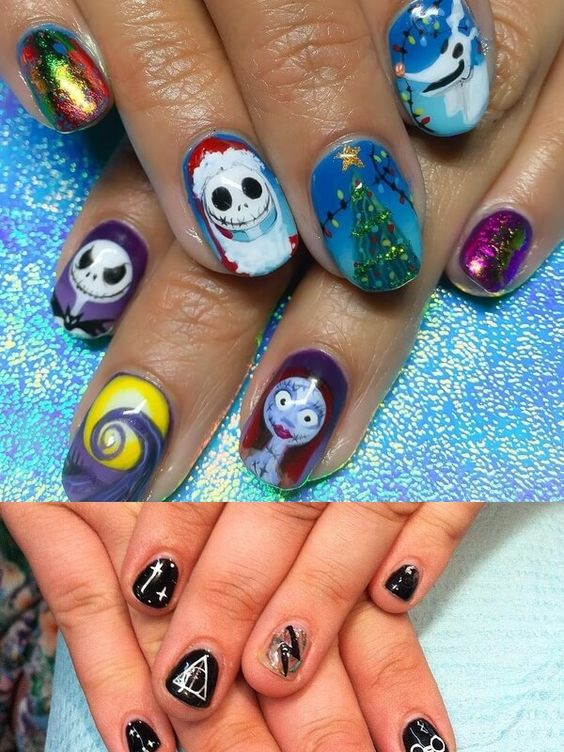 24+ Awesome Colorful Christmas Acrylic Nail Art Designs for
