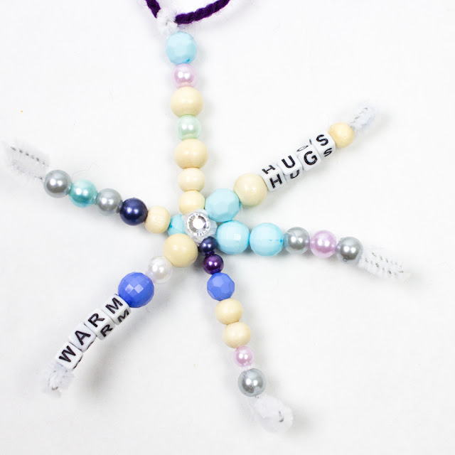 Beaded Pipe Cleaner Snowflake Craft with messages for kids to make for Christmas