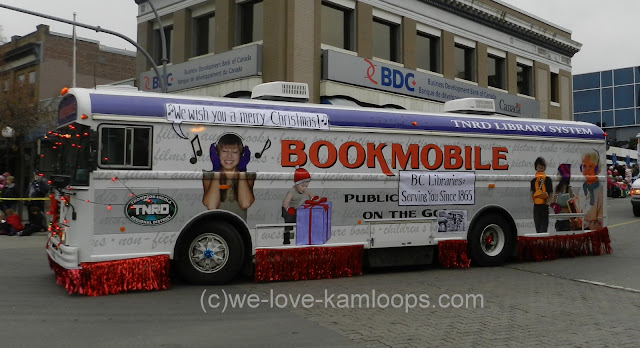The bus that operates as the mobile library in the Santa parade