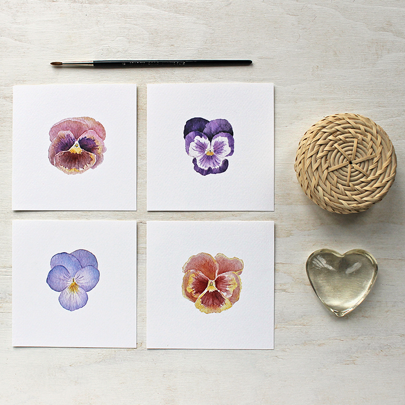 Pansy watercolor prints by Trowel and Paintbrush