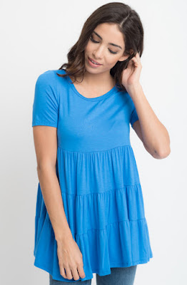 Buy now hydrangea Short Sleeve Ruffled Tiered Tunic Online $10 -@caralase.com