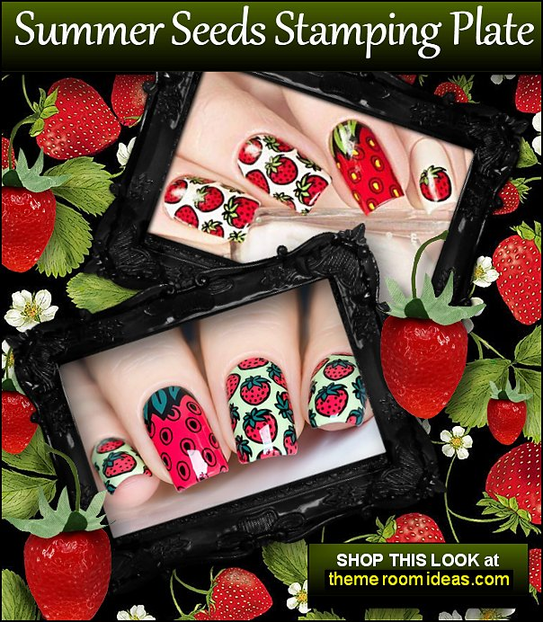 Summer Seeds Stamping Plate for Nail Art Design strawberries strawberry nails strawberry nails strawberry cream