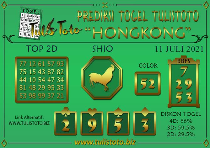 Prediksi Togel HONGKONG TULISTOTO 11 JULI 2021