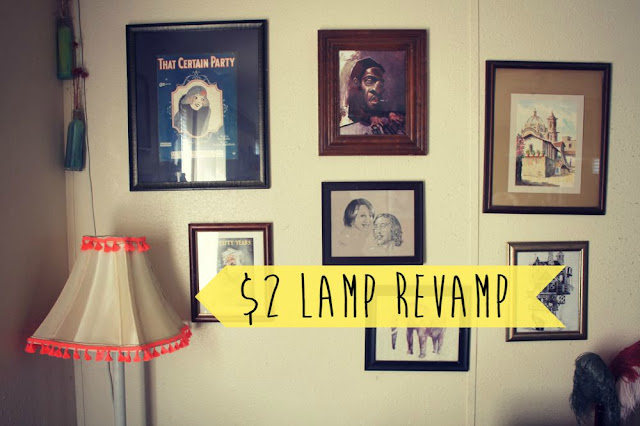 Lampshade makeover. Bohemian home decor. Floor lamp makeover. Neon tassels. FIY bohemian home decor. Cheap bohemian DIY. Updating old lamps. Lamp redo ideas.
