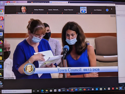 Teresa Burr and newly appointed Temporary Town Clerk Nancy Danello as they provided an update to the Town Council Mtg, Aug 12, 2020