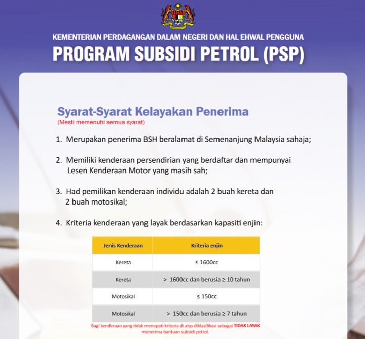 Syarat Kelayakan Program Subsidi Petrol (PSP)