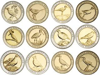 набор монет БИМ биметалл Птицы Анатолии 1 серия 12 монет Турция