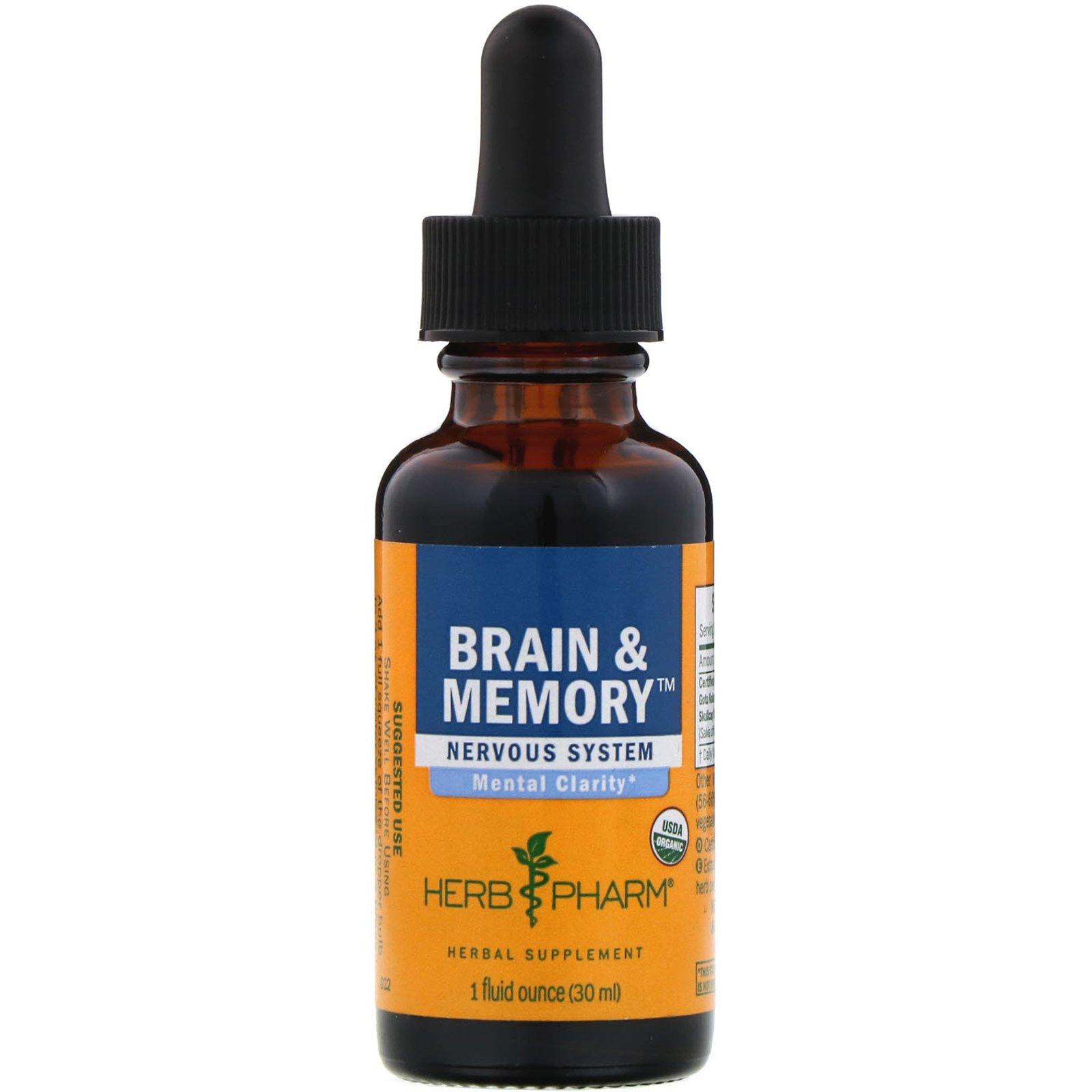 Herb Pharm, Brain & Memory (мозг и память), нервная система, 1 жидкая унция (30 мл)