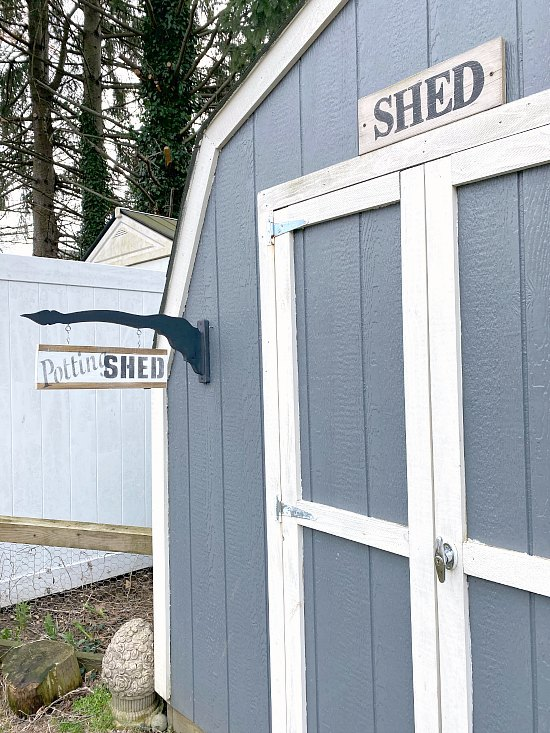 Two sided DIY garden shed sign