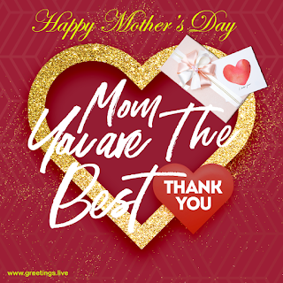Mom you are The Best mom, Thank you. Happy Mothers Day golden love heart frame, love heart symbol, gift box