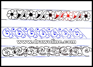 Lace embroidery design, embroidery lace border design patterns pencil sketch on tracing paper
