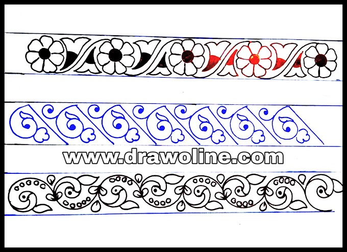 9 Lace border design drawings for hand embroidery sarees designs/saree border design drawings for embroidery/lace border embroidery design