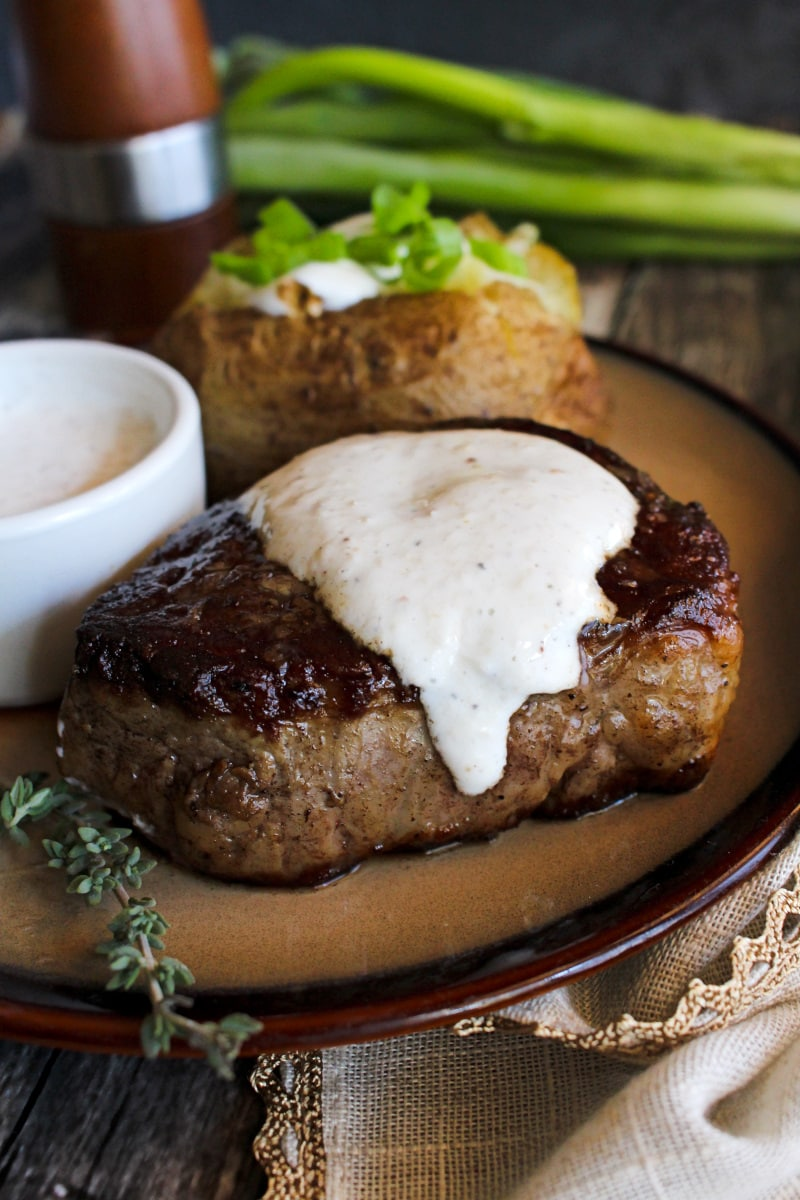 This Creamy Horseradish Sauce is the best topper for steak! It's the perfect combination of cool Greek yogurt and zippy horseradish.