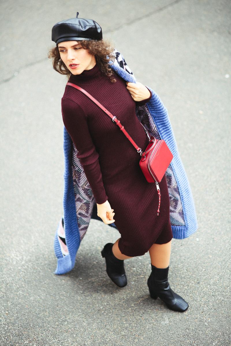 длинное вязанное пальто