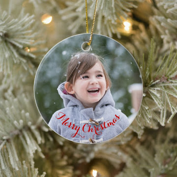 Create Your Own Round Ceramic Holiday Christmas Photo Ornament