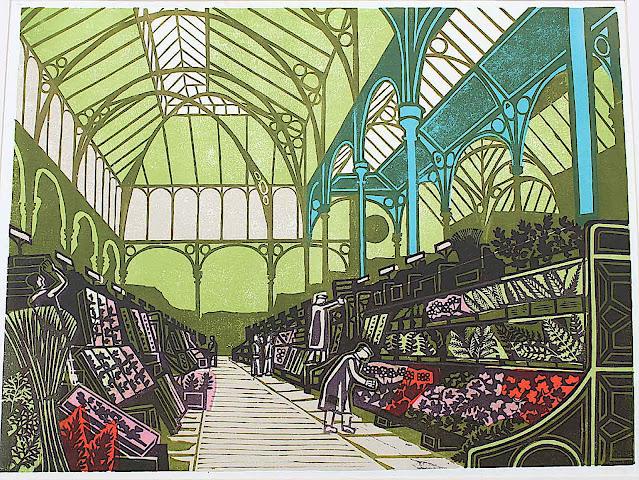 Edward Bawden, flowers in an indoor market